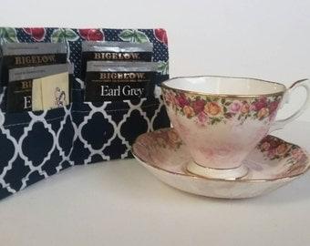 Tea Bag Wallet, Tea Bag Holder,Tea Wallet,  Tea Bag Storage, Tea Bag Caddy, Travel Tea Bag Holder, Tea Bag Case, Navy Cherries