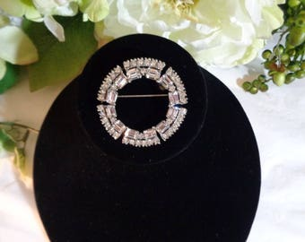 Double Circle of Life Rhinestone Brooch Pin