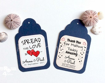 24 Spread The Love Wedding Personalized Tag _ Highly Personalizable Text in Your Language_ Blu Navy/Blush Place Card_ Geschenkanhänger