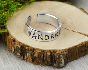Wanderer Traveler's Ring • Handstamped Jewelry • Handstamped Ring