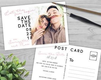 Printable Save the Date Postcard - Black and White - DIY Save the Date - FS1709