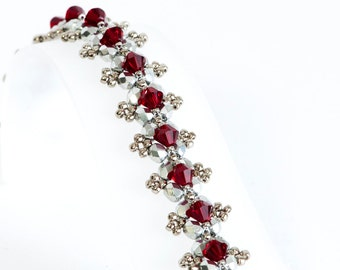 Siam Red Crystal Bracelet - Beadwoven Bracelet in Siam Red Crystals, Silver Fire Polished Beads, Silver Seed Beads - Seed Bead Jewelry