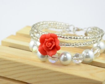 Three Strand Rose and Pearl Bracelet