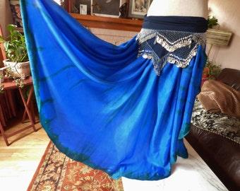 Silk Skirt Belly Dance Skirt Blue Silk Skirt