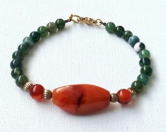 Agate bracelet, green and brown bracelet, brown and green bracelet, autumn bracelet, fall bracelet