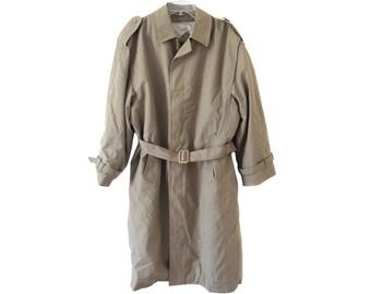 Vintage Shelter Trade Mark men trench coat trenchcoat removable lining with belt