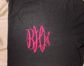 Dark Heather V-neck Monogrammed Tee/Adult Sizes/Monogrammed Gifts/Personalized Gifts