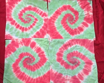 REDUCED! Set of 4 holiday cloth napkins, tie dyed in red and green spirals Christmas