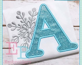 Snowflake Applique Alphabet - This design is to be used on an embroidery machine. Instant Download 4x4, 5x7,9x9