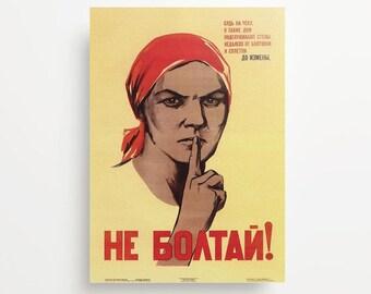 Vintage Soviet Poster Do Not Gossip Giclée Print