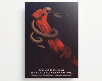Vintage Soviet Poster Eradicate Spies And Saboteurs Giclée Print
