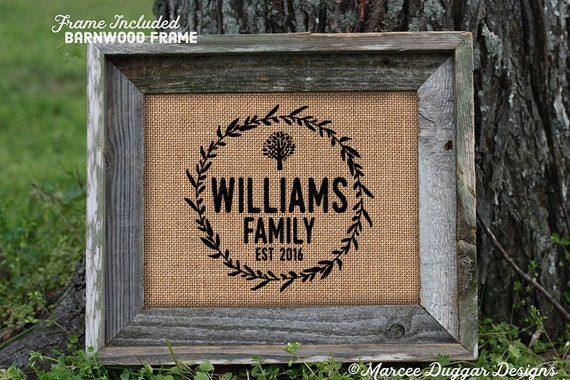 Framed Family Name | Family Tree | Est Date | Family Name | New Home | Reunion | Burlap Print | Personalized | #0219