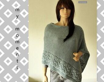 PONCHO Wool / Alpaka mint/grey melange