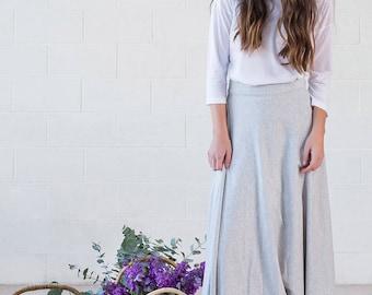 Organic Cotton Grey Maxi Skirt - Begonia Skirt