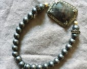 Oxidized Silver Bead Stretch Bracelet with Sapphire and Diamond Pave Center and Smoky Quartz accents
