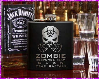 Personalized Custom Engraved Stainless Steel 6 oz Flask Name Zombie Response Team