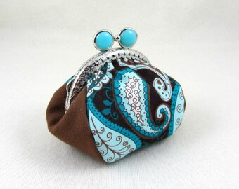 Paisley coin purse, handmade coin pouch, change purse, metal frame purse, paisley cotton pouch, blue and brown purse