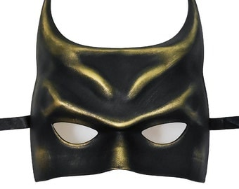 Batman Costume Masquerade Mask - Black Gold Batman Mask - Masquerade Mask For Costume Events - Batman Superhero Mask Party