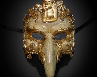 Mens Masquerade Mask, Masquerade Mask RHINSTONES, Plague Doctor Mask, Gold Mask, Masquerade Mask Men, Mardi Gras Mask