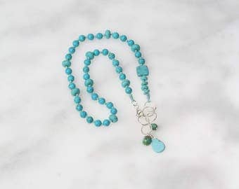 OOAK Hand Knotted Turqoise Dyed Howlite Sterling Silver Necklace