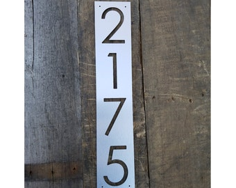 Address Numbers Brushed Metal Face Mailbox 4x4 Post Address Plaque Tight Vertical Space