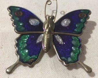 Beautiful Vintage Blue And Green Enamel Butterfly Brooch Pin Made in Taiwan