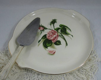 Vintage Platter with Handles Rose Pattern Cake Plate Fruit Cheese Platter Cottage Chic