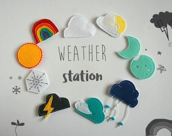 Felt Weather station with different attaching options- just felt/magnetic/velcro, weather applique, educational materials, 4-6cm, Set of 10