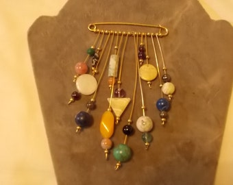 Unique Dangle Brooch with many natural stones/ (362)