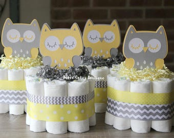 SET OF 4 Yellow and Gray Owl Mini Diaper Cakes, Gender Neutral Owl Baby Shower, Yellow Gray, Grey Owl Centerpiece, Decor, Gray Owl Chevron