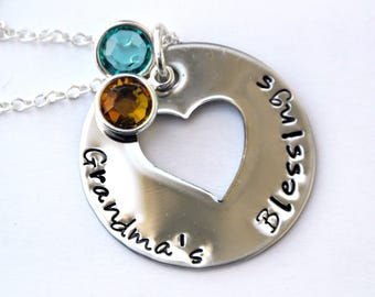 Stamped Heart Name Necklace With Birthstones/ Grandma necklace / mommy necklace