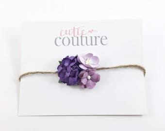 Purple and lavender Headband, Purple Flower girl headband, Purple Headband, Birthday Headband, purple and lavender Headband, flower Headband