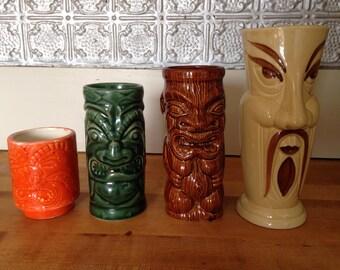 tiki bar mugs , 4 different glasses / mugs for tiki bar , luau