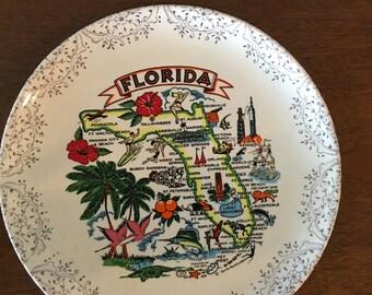 Vintage Florida Souvenir Plate, Early 70s.