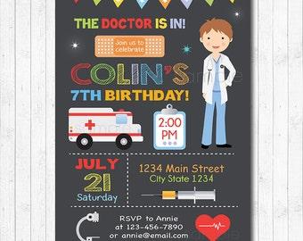Doctor Birthday Invitation, Boy Doctor Invitation, Doctor Invite, Doctor birthday,  Doctor Party Invitation, chalkboard, printable