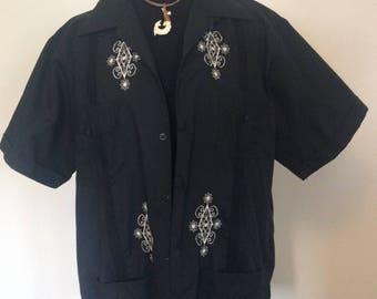 Vintage Black Guayabera Shirt - L