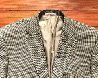Newer Vintage Pal Zileri Black and White Mini Houndstooth Sport Coat Blazer 40R
