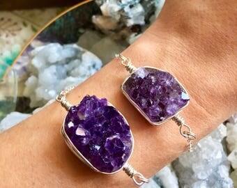 Sterling Silver Amethyst Cluster Bracelets