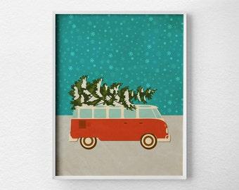 Christmas Print, Christmas Decor, Retro Christmas, Holiday Decor, Christmas Wall Art, Holiday Print, Christmas Poster, VW Bus Print, 0480