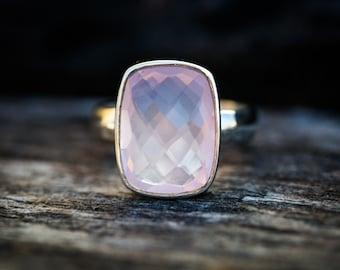 Rose Quartz Ring size 5.5 -9.5 - Rose Quartz Ring - Checkerboard Cut Rose Quartz Ring - Rose Quartz Ring - Sterling Silver Rose Quartz Ring