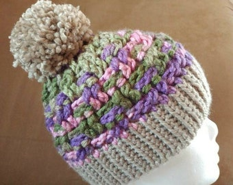 Pink, purple and tan crochet hat