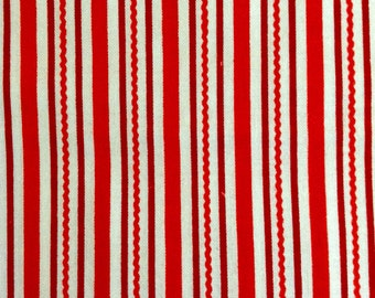 One Half Yard of Fabric Material - Red and White Candy Cane Squiggle