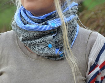 Loop scarf grey blue xl