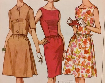 1960's  Vintage Mcall's  7614 Misses' Dress Pattern Slim Or Full Skirt  and Jacket