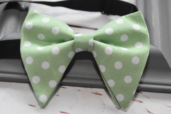 Mint green and white polka bow tie with Suspenders/Braces for Baby, Toddlers and Boys (Kids Bow Ties)