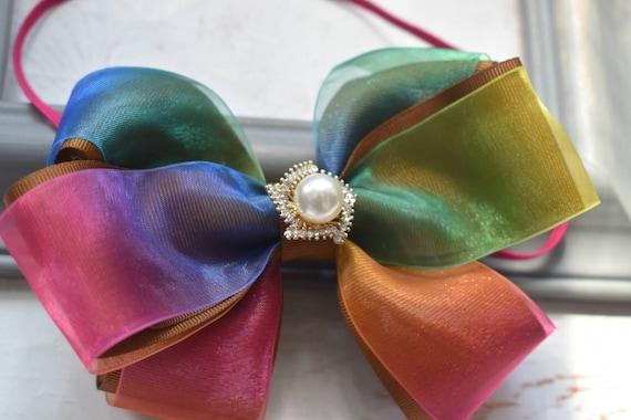 Bright coloured rainbow bow headband - Baby / Toddler / Girls / Kids Headband / Hairband / Hair bow / Barrette / Hairclip