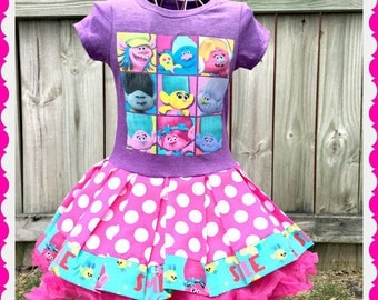 girls trolls dress cupcake trolls 14/16 ready to ship