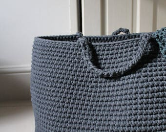 Large crocheted graphite basket, charcoal basket, dark grey basket, laundry basket, nursery basket, storing toys, large basket, grey basket