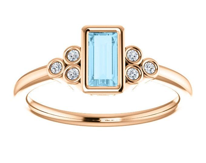 Featured listing image: 25% OFF Aquamarine Baguette Diamond Ring, 14K Yellow Gold Gemstone Ring