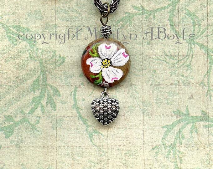 STONE- HAND PAINTED; dogwood flower, jewelry, pendant, choker, 14 inch cord, heart charm, original art, wearable art,